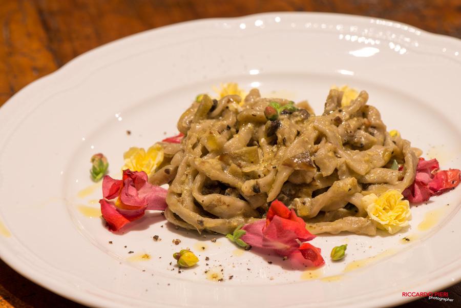 Tagliolini al Vino Nobile, home made pasta with a touch of red wine,