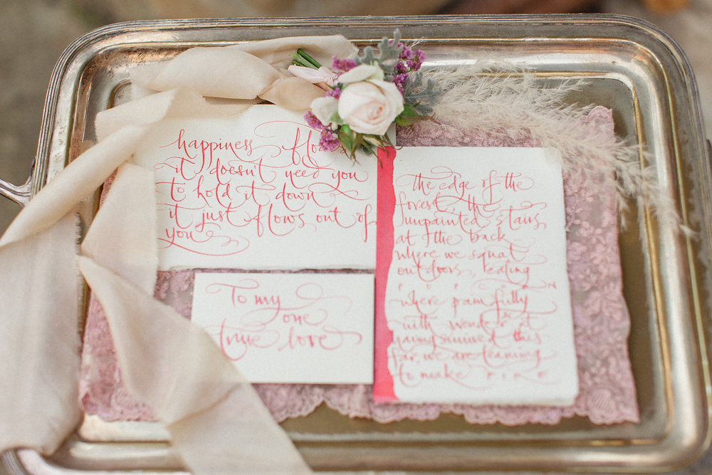 Fine Calligraphy details for intimate moments of the vows exchange in Italy