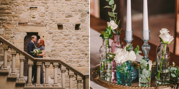 Stylish couple vintage inspired elopement wedding in Tuscany