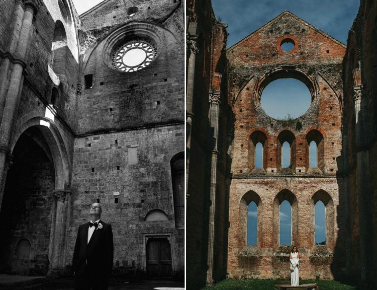 Groom and Bride portraits inside San Galgano Abbey