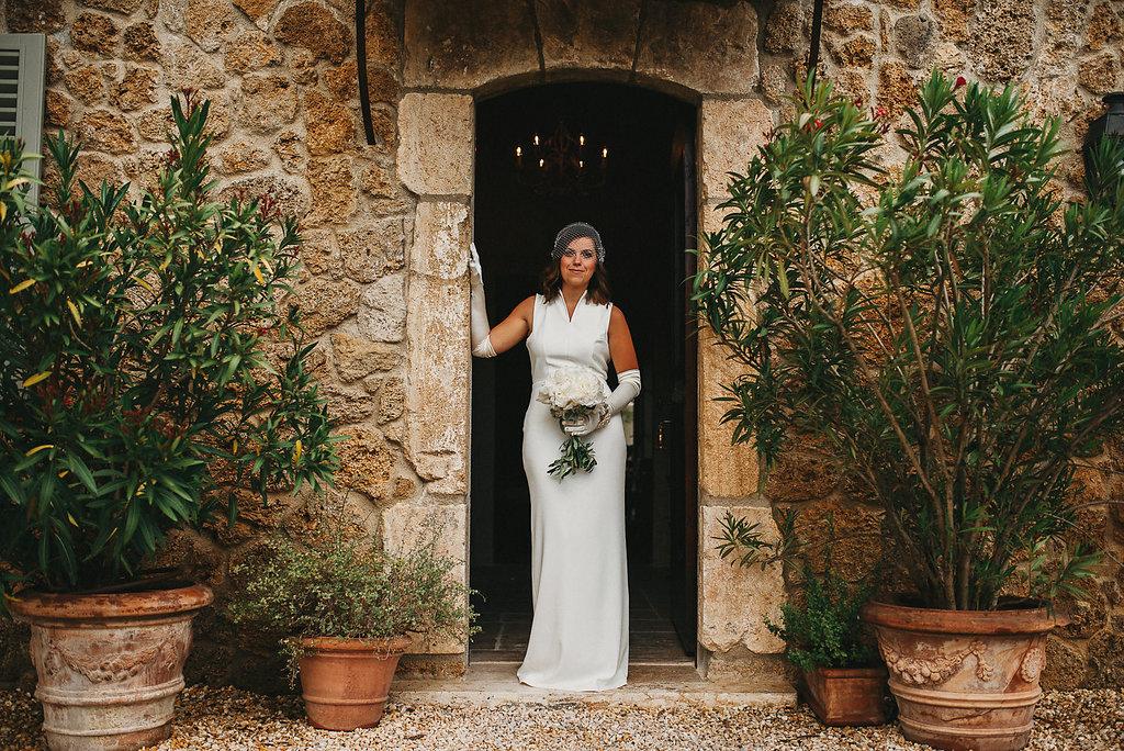 Summer wedding day at San Galgano abbey in Italy