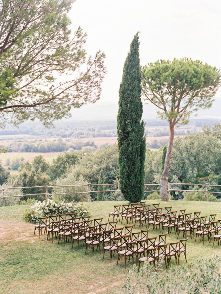 wedding reception in Tuscany decor